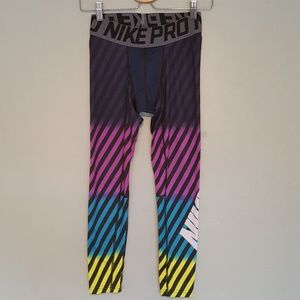 Nike Pro Compression Running Tights Rainbow Stripe